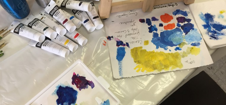 A photo of Workshops and Brands of Paint by Canadian artist Theresa Eisenbarth