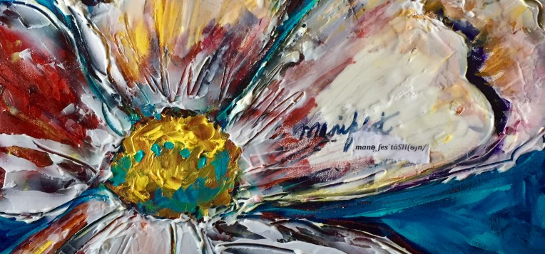 An acrylic painting of a flower for an Acrylic Mixed-media workshop by Canadian artist Theresa Eisenbarth