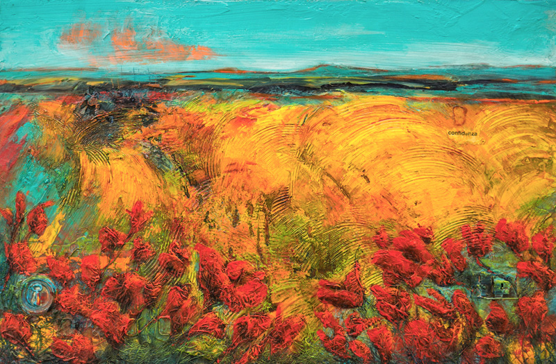 An acrylic painting of a Canola Field with Red Flowers by Canadian artist Theresa Eisenbarth""