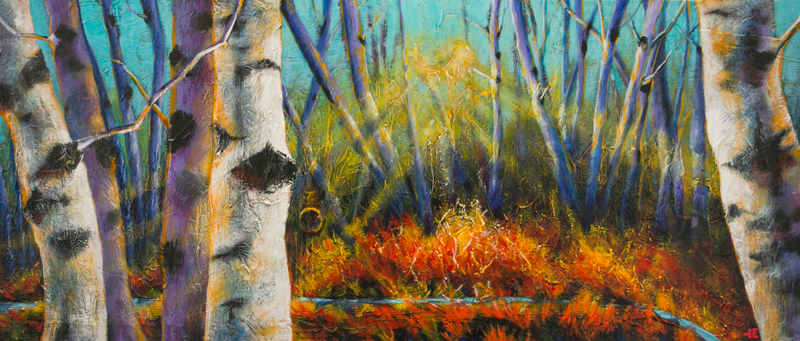 "An acrylic painting of birch trees called ""Along the Path "" by Canadian artist Theresa Eisenbarth"