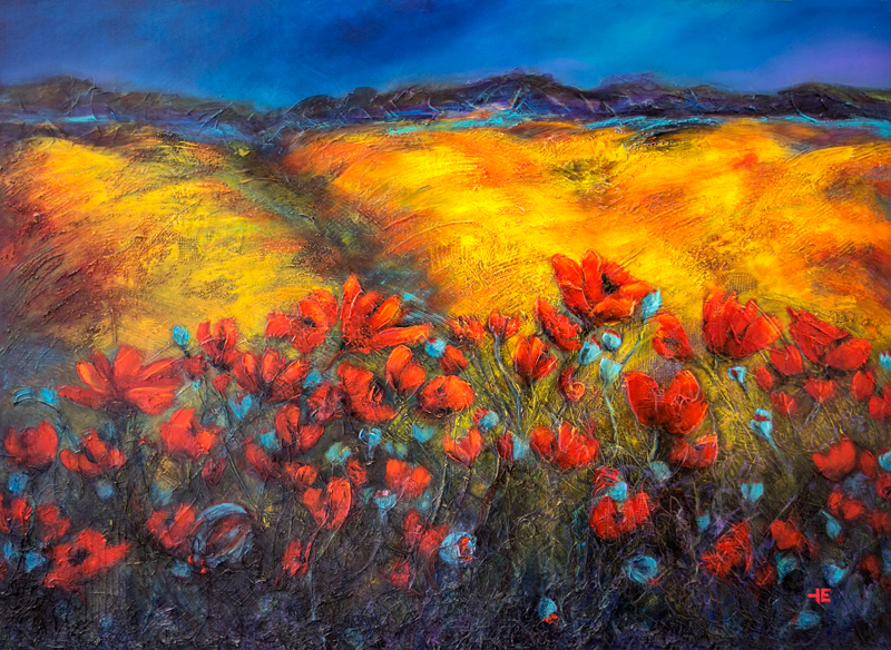 "An acrylic painting of red poppies in a canola field called ""Always Giving"" by Canadian artist Theresa Eisenbarth"