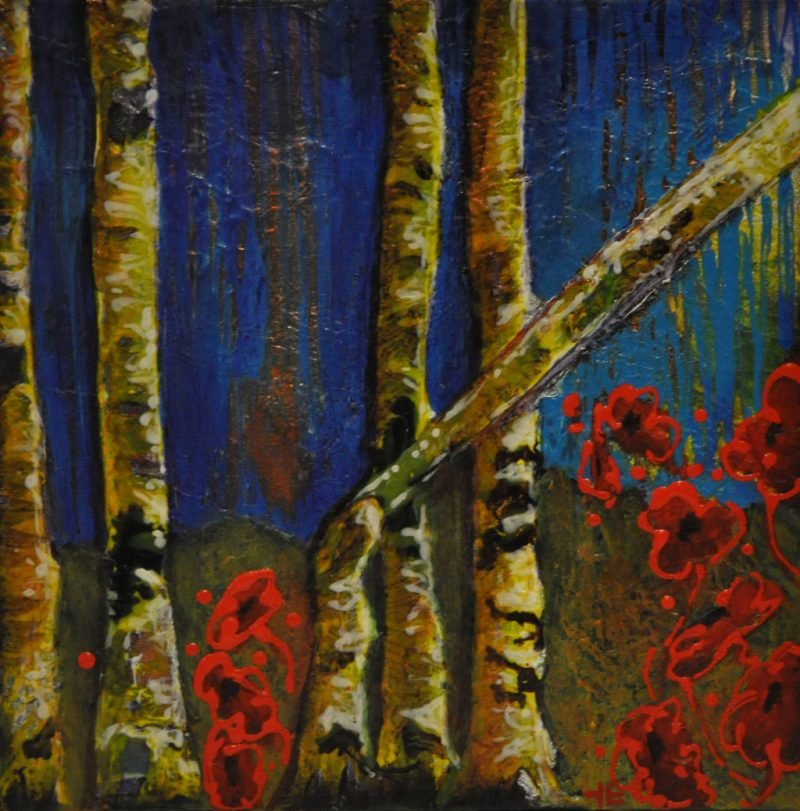 "Acrylic painting, ""Bending Birch"" by Canadian artist, Theresa Eisenbarth"