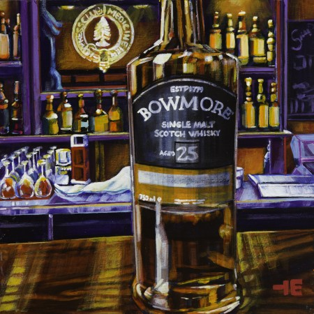 An acrylic painting of Bowmore Scotch at the Cypress Club in Medicine Hat by Canadian artist Theresa Eisenbarth