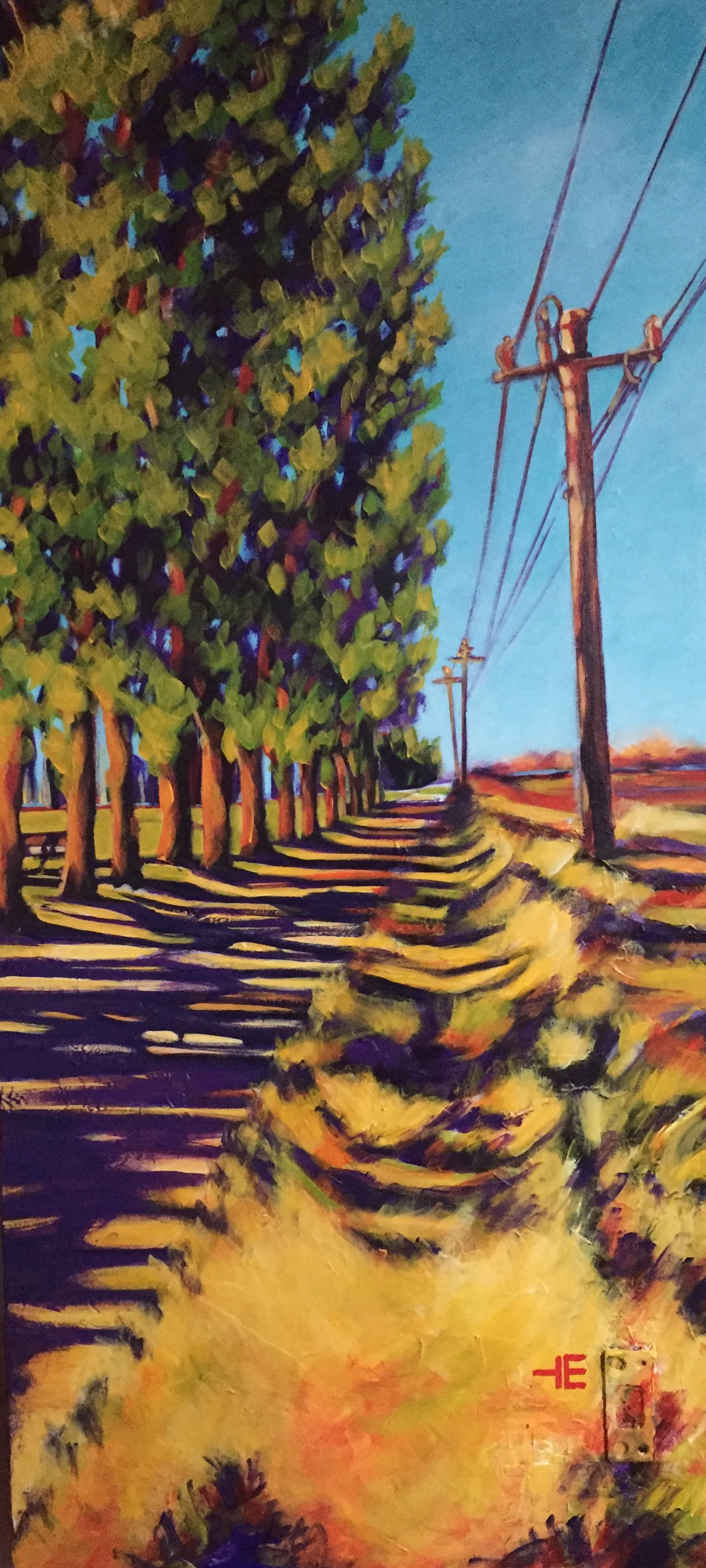 "Acrylic painting, ""Break from Class, Medicine Hat "" by Canadian artist, Theresa Eisenbarth"