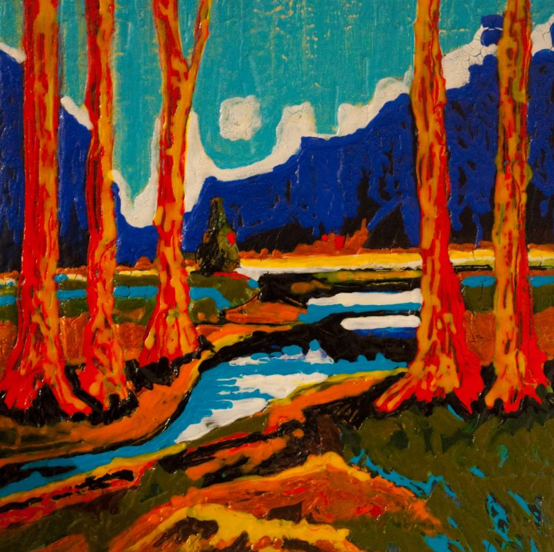 "An acrylic painting of a stream called ""Bubbling Brook #2 "" by Canadian artist Theresa Eisenbarth"
