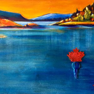 "An acrylic painting celebrating Canada's 150th birthday called ""Canada On My Mind "" by Canadian artist Theresa Eisenbarth"