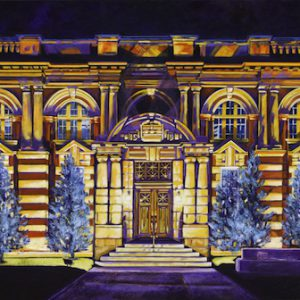 "Acrylic painting, ""Courthouse at Night, Medicine Hat Alberta "" by Canadian artist, Theresa Eisenbarth"