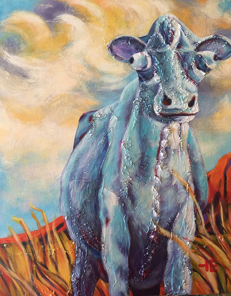 "Acrylic painting, ""Cow at Paradise Valley Golf Course Medicine Hat"" by Canadian artist, Theresa Eisenbarth"