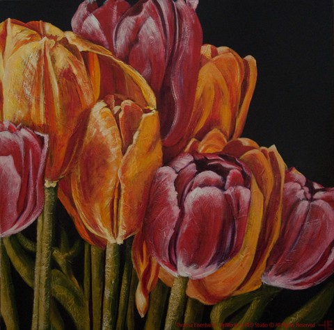 "An acrylic painting of a tulip bouquet called ""Debbies Quiet Unfolding"" by Canadian artist Theresa Eisenbarth"