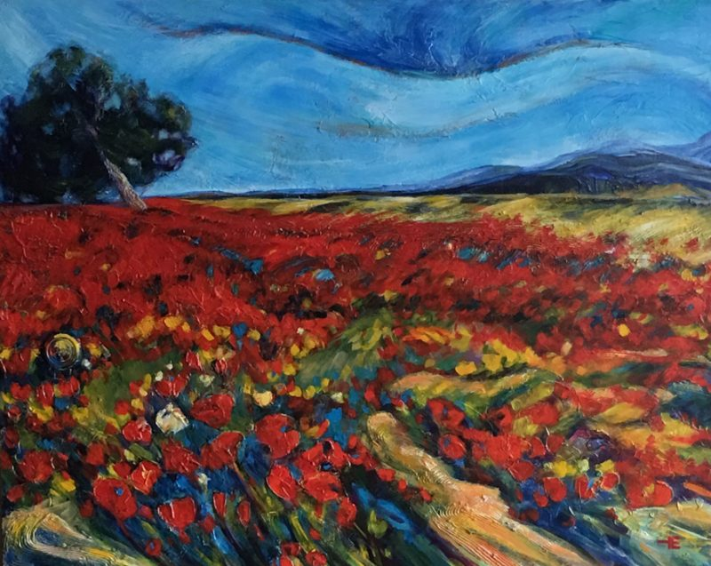 "Acrylic painting, ""Dreamers Field "" by Canadian artist, Theresa Eisenbarth"