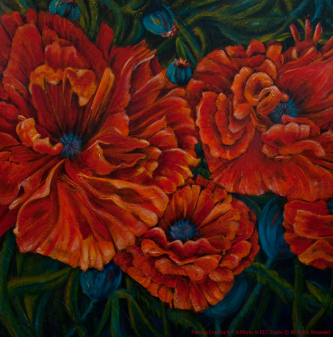 "An acrylic painting of Orange Poppies called ""Terry's Forthright Passion"" by Canadian artist Theresa Eisenbarth"