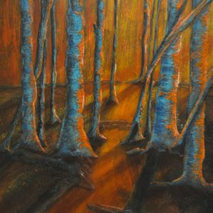 "Early artworks of acrylic painting called ""Glowing Trees"" by Canadian artist, Theresa Eisenbarth"