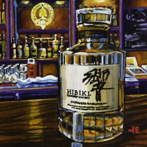 An acrylic painting ofHibiki Scotch at the Cypress Club, Medicine Hat, by Canadian artist Theresa Eisenbarth
