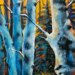"An acrylic painting of Birch Trees called, ""Hidden Entrance"" by Canadian artist Theresa Eisenbarth"