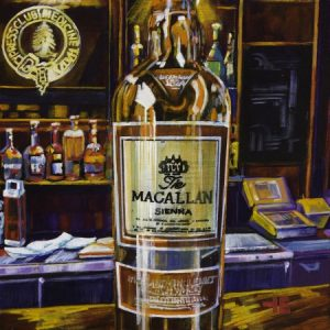 An acrylic painting of Macallan Scotch at the Cypress Club by Canadian artist Theresa Eisenbarth