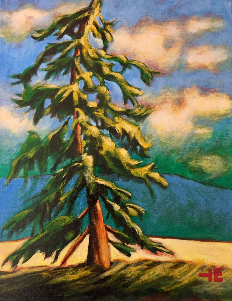 "Acrylic painting, ""Magna Bay Tree"" by Canadian artist, Theresa Eisenbarth"