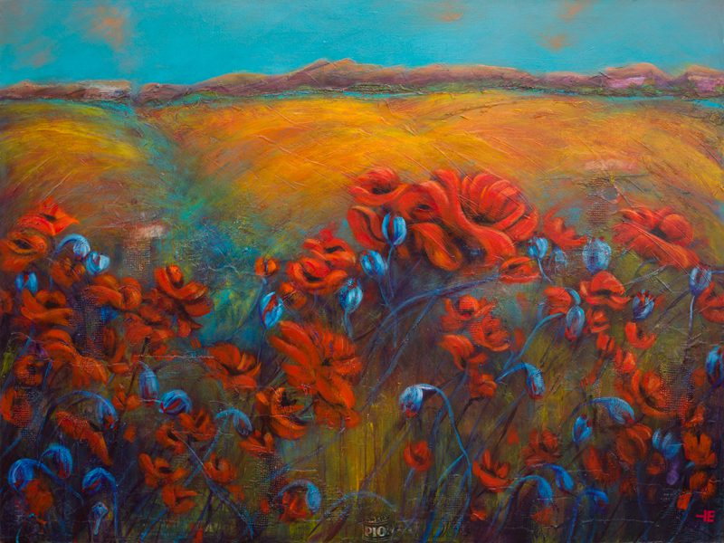 "An acrylic painting of red poppies in a canola field called ""Memories of WWII"" by Canadian artist Theresa Eisenbarth"