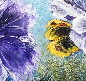"An acrylic painting of pansy flowers called ""My Dear Cousin, Marlene"" by Canadian artist Theresa Eisenbarth"