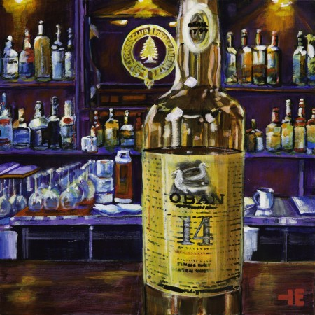 An acrylic painting of Oban Scotch at the Cypress Club, Medicine Hat by Canadian artist Theresa Eisenbarth