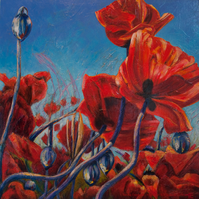 "An acrylic painting of red poppies called ""Oh Val, Where Art Thou? "" by Canadian artist Theresa Eisenbarth"