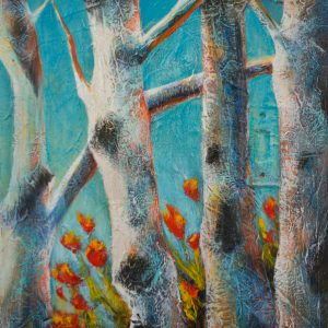 "Acrylic painting of birch trees on the Edge "" by Canadian artist, Theresa Eisenbarth"