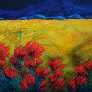 "An acrylic painting of a field of poppies called ""On The Way"" by Canadian artist Theresa Eisenbarth"