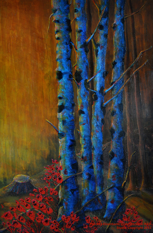 "An acrylic painting of birch trees and poppies called ""Orange Glow"" by Canadian artist Theresa Eisenbarth"