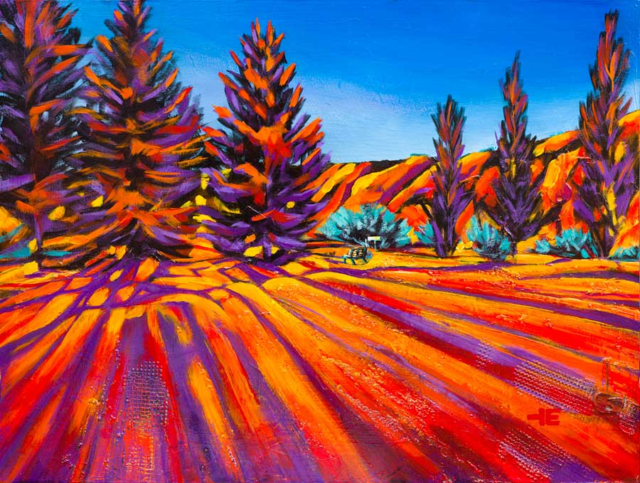 "An acrylic painting of Paradise Valley Golf Course called "" Backlit Trees "" by Canadian artist Theresa Eisenbarth"