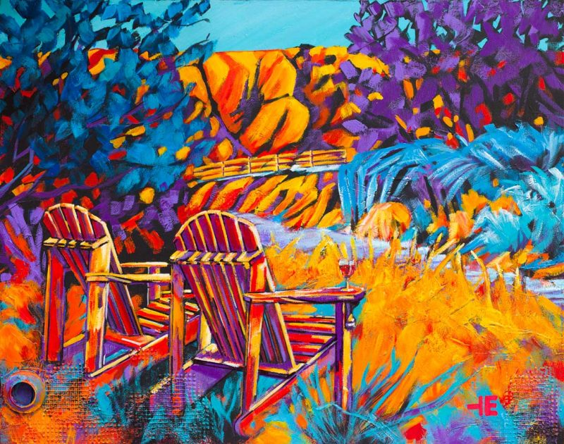 "An acrylic painting of Adirondack Chairs called ""Days End"" by Canadian artist Theresa Eisenbarth"