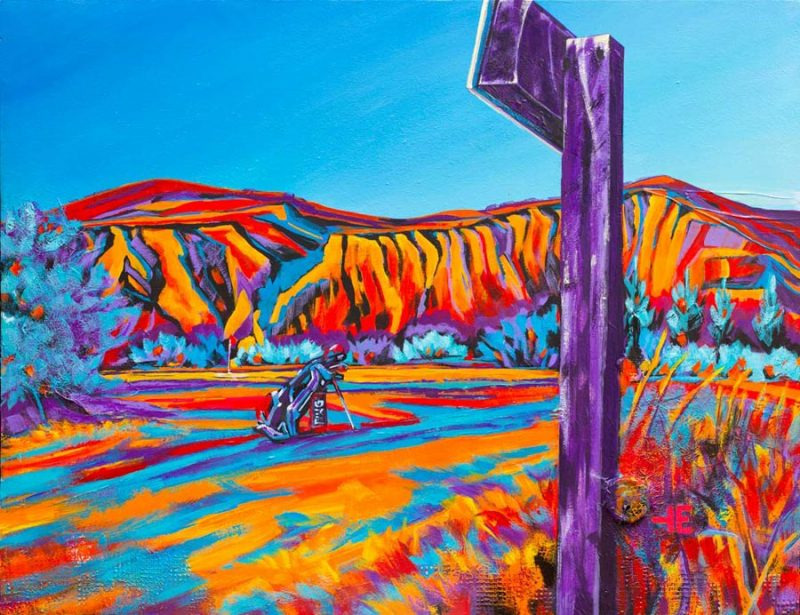 "An acrylic painting of Paradise Valley Golf Course called ""Golf This Way,"" by Canadian artist Theresa Eisenbarth"