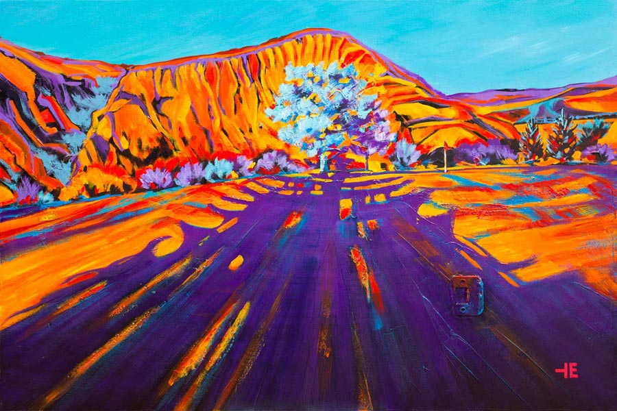 "An acrylic painting of Paradise Valley Golf Course called ""Long Shadows,"" by Canadian artist Theresa Eisenbarth"