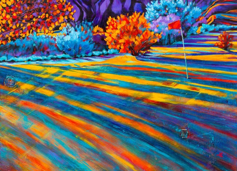"An acrylic painting of Paradise Valley Golf Course called "" On The Coulee Edge, "" by Canadian artist Theresa Eisenbarth"