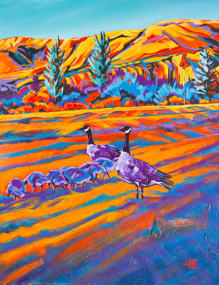 "Acrylic painting, ""Pause the Game, Paradise Valley Golf Course, Medicine Hat"" by Canadian artist, Theresa Eisenbarth"