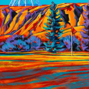 "An acrylic painting of the Tee Pee in Medicine Hat, Alberta called ""Standing Proud "" by Canadian artist Theresa Eisenbarth"