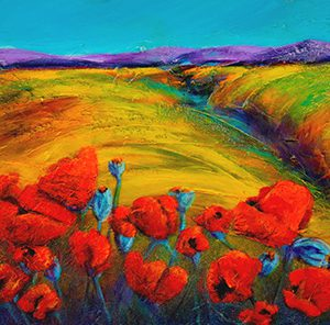 "An acrylic painting of a field of poppies called ""Poppy Dance"" by Canadian artist Theresa Eisenbarth"