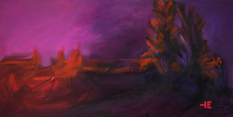 "An acrylic painting of the Last Light of the day called "" Purple Dusk""by Canadian artist Theresa Eisenbarth"