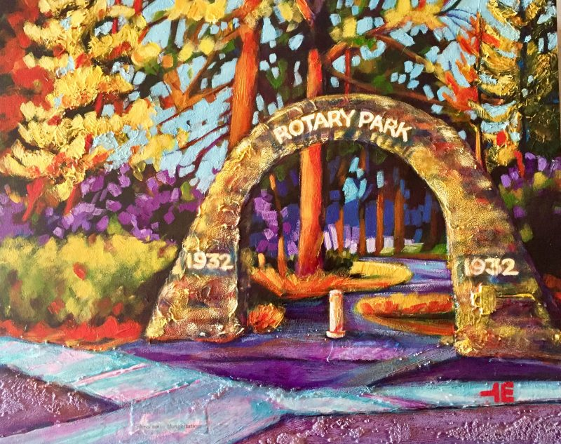 "An acrylic painting of Rotary Park Arch on Railway Street called ""Rotary Park Arch, Medicine Hat "" by Canadian artist Theresa Eisenbarth"