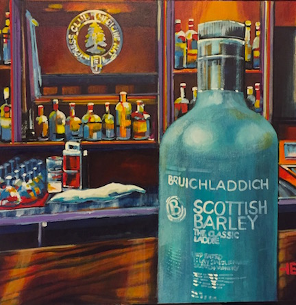 An acrylic painting of Scottish Barley Scotch at the Cypress Club, Medicine Hat, by Canadian artist Theresa Eisenbarth
