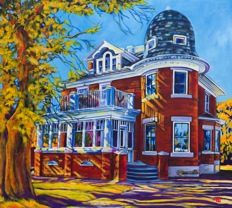 "Acrylic painting, "" Turret House, (Wallace Residence) Medicine Hat "" by Canadian artist, Theresa Eisenbarth"