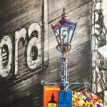 "Acrylic painting, ""Second Street Gas Lamp, Medicine Hat"" by Canadian artist, Theresa Eisenbarth"