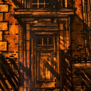 """Acrylic painting, """"Exiting Commerce"""" Downtown, Medicine Hat"""" by Canadian artist, Theresa Eisenbarth"""