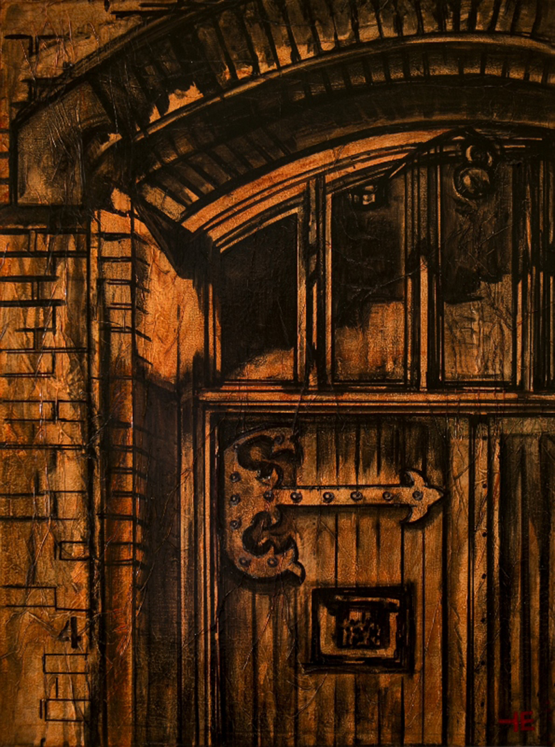 "Acrylic painting, ""Who's on Fourth, St. Barnabas Church Doors, Downtown, Medicine Hat"" by Canadian artist, Theresa Eisenbarth"