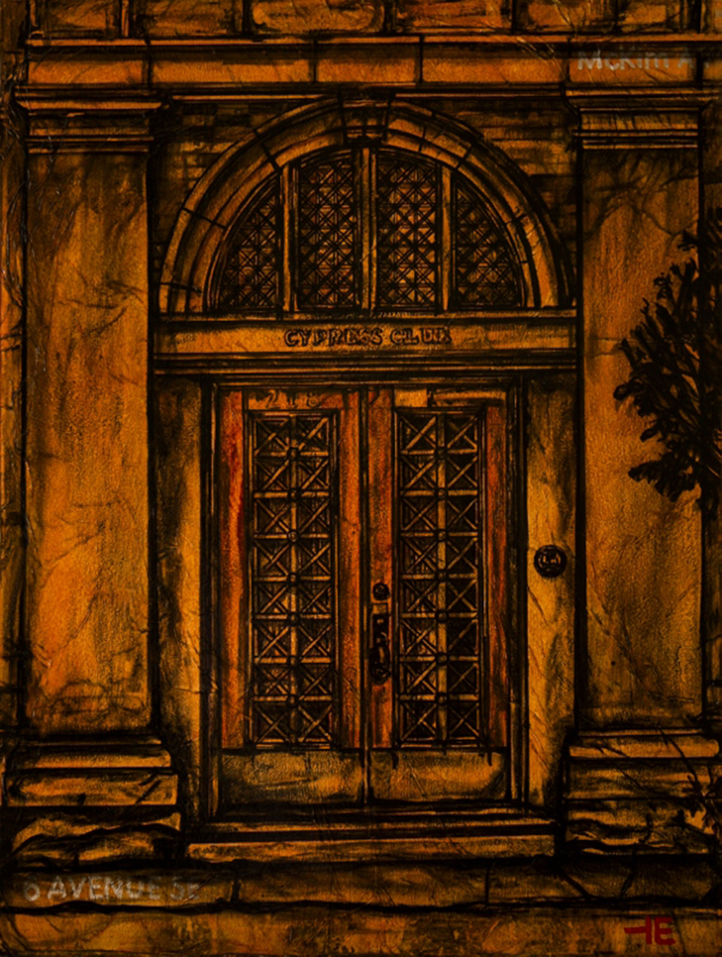 "Acrylic painting, ""Merchant Exchange, Cypress Club Doors, Downtown, Medicine Hat"" by Canadian artist, Theresa Eisenbarth"