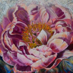 "An acrylic painting of a peony called ""Teresa's Sunlit Goddess"" by Canadian artist Theresa Eisenbarth"