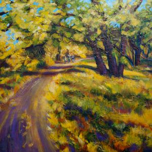 "An acrylic painting of the old Lions Park path called ""The Lions Path, Medicine Hat "" by Canadian artist Theresa Eisenbarth"