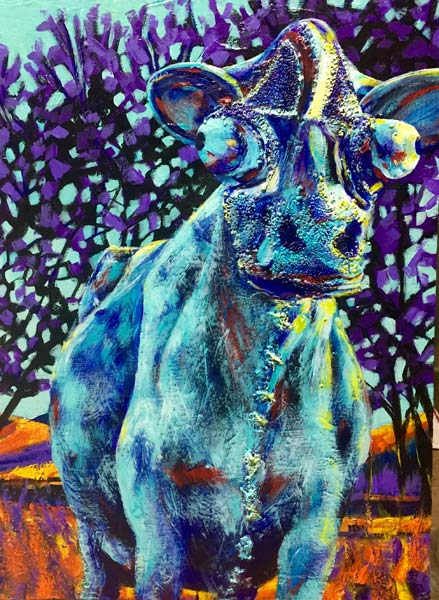 "An acrylic painting of the cow sculpture called ""Paradise Valley Icon"" by Canadian artist Theresa Eisenbarth"