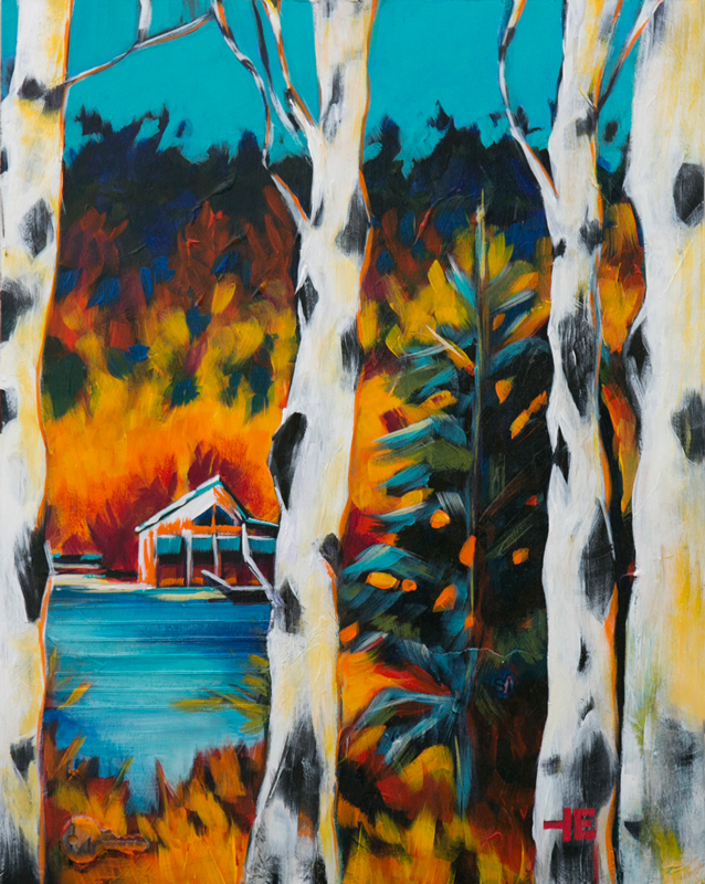 An acrylic painting of Birch trees in Emerald Lake, Alberta by Canadian artist Theresa Eisenbarth