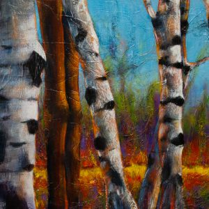 "An acrylic painting of birch trees along a path called ""Along The Path "" by Canadian artist Theresa Eisenbarth"