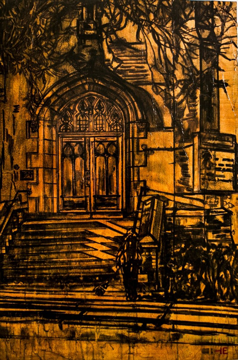 "Acrylic painting, "" Fifth Avenue United Church "" by Canadian artist, Theresa Eisenbarth"
