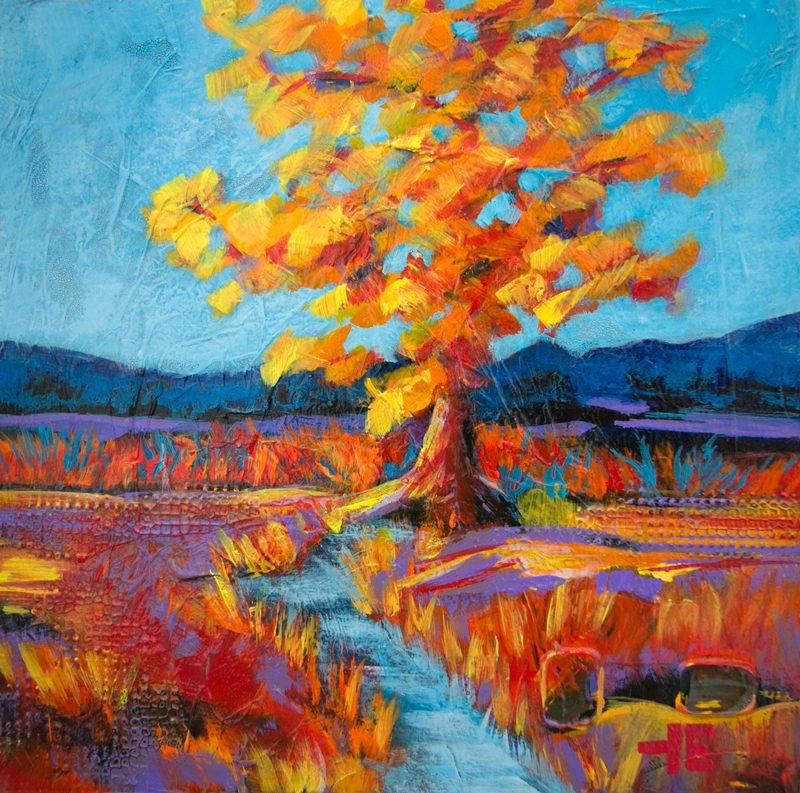 An acrylic painting of a Yellow Light hitting a Tree by Canadian artist Theresa Eisenbarth